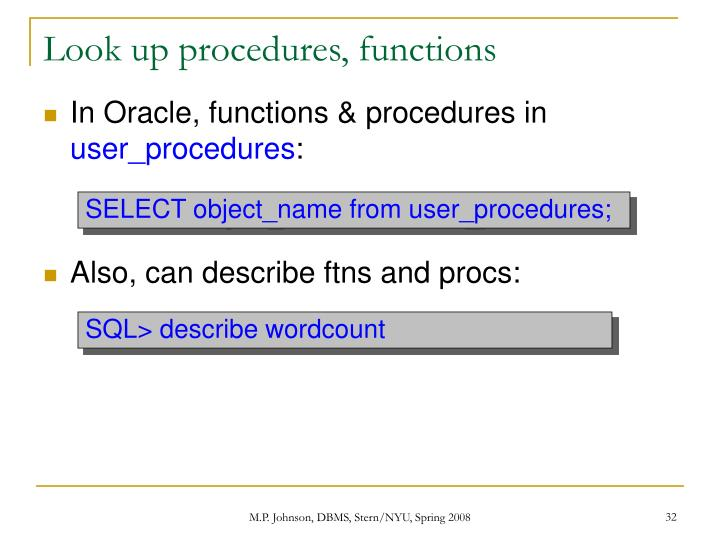 Look up procedures, functions