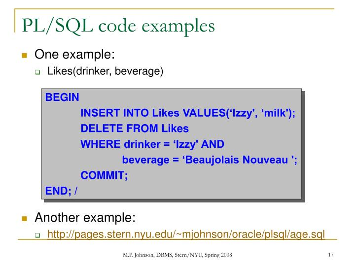 PL/SQL code examples