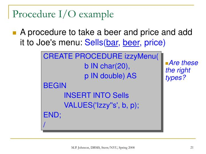 Procedure I/O example