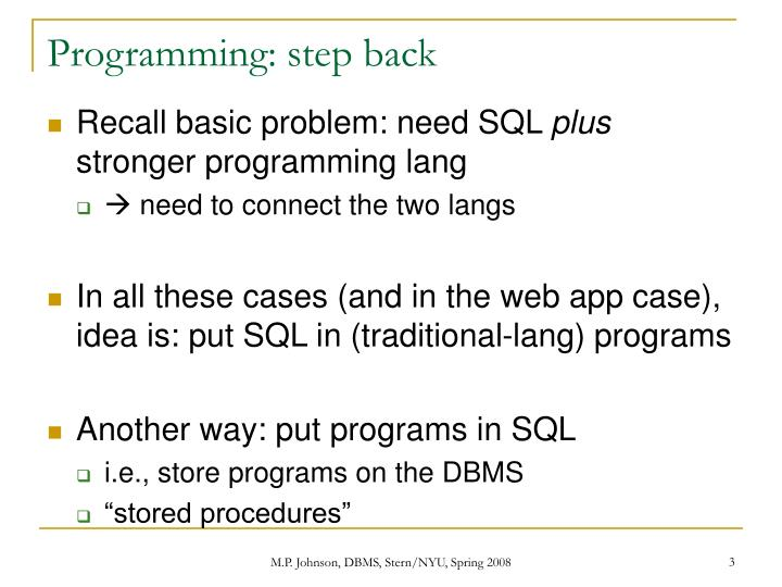 Programming: step back