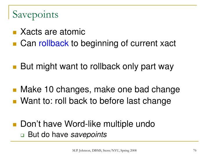 Savepoints