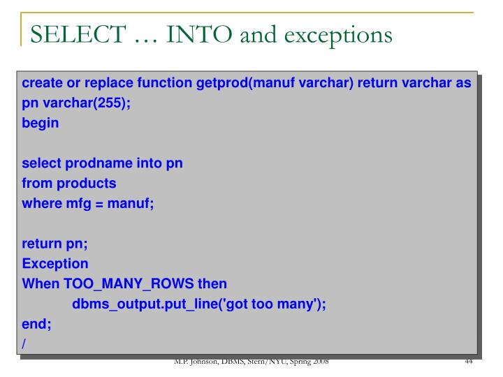 SELECT … INTO and exceptions