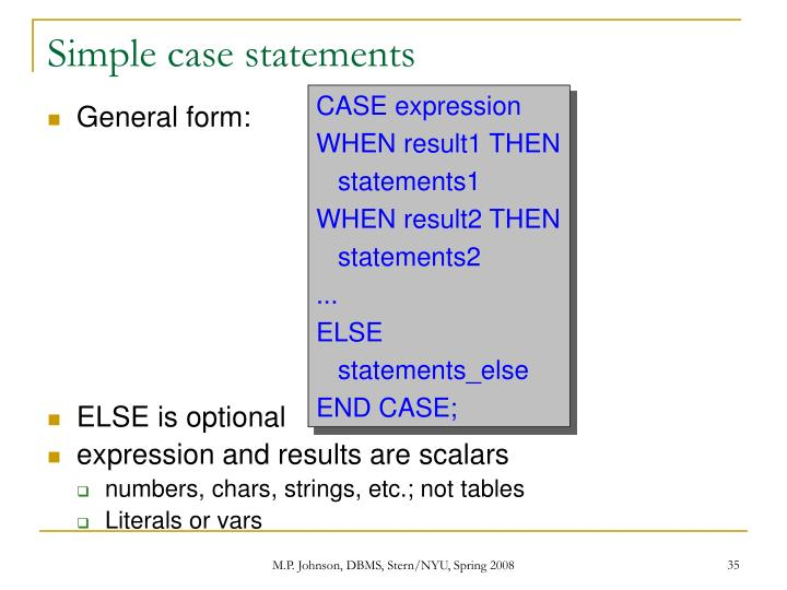 Simple case statements