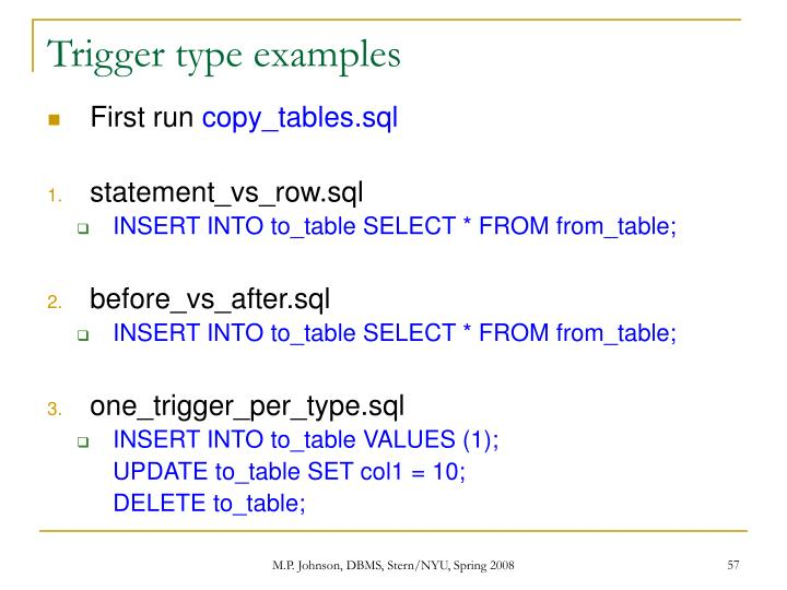 Trigger type examples