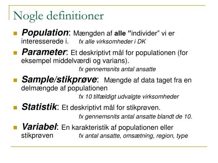 Nogle definitioner