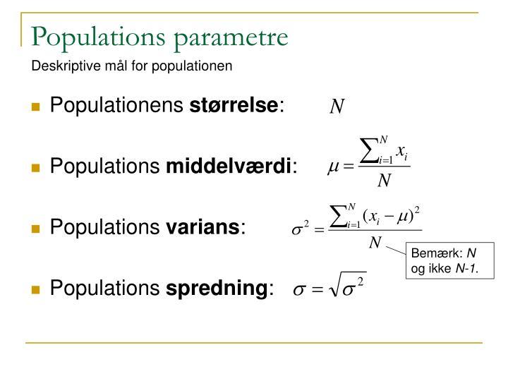 Populations parametre