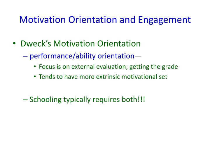 Motivation Orientation and Engagement