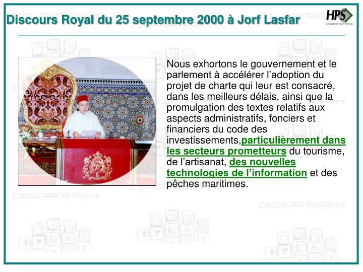 Discours Royal du 25 septembre 2000 à Jorf Lasfar