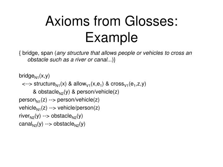 Axioms from Glosses: Example