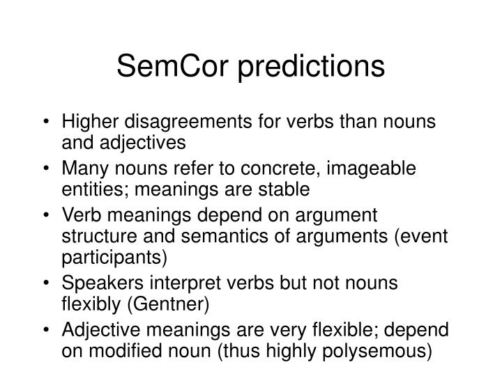 SemCor predictions