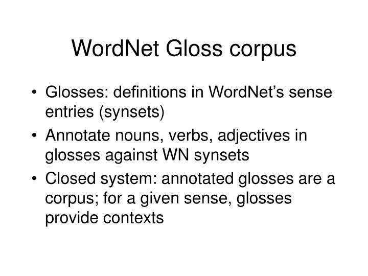 WordNet Gloss corpus