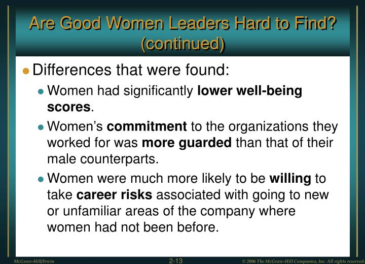 Are Good Women Leaders Hard to Find? (continued)