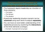 the interactional framework for analyzing leadership continued