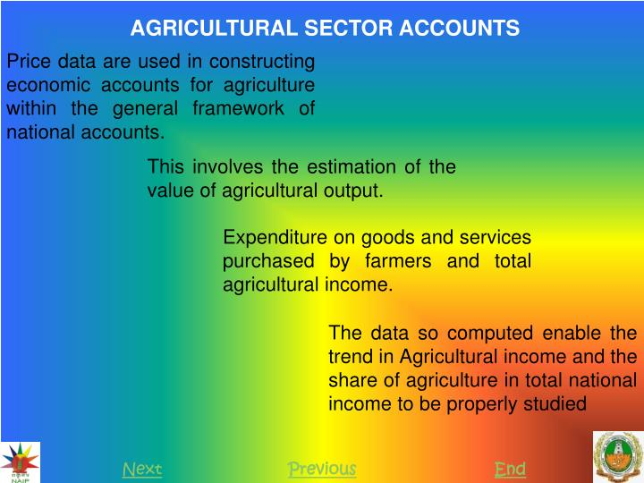 AGRICULTURAL SECTOR ACCOUNTS