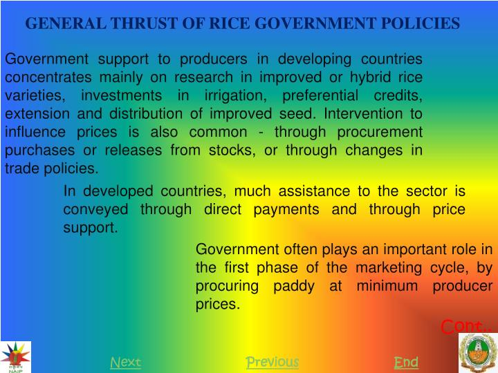 GENERAL THRUST OF RICE GOVERNMENT POLICIES