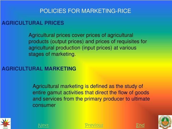 POLICIES FOR MARKETING-RICE