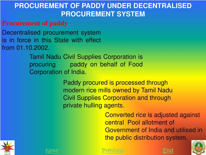 PROCUREMENT OF PADDY UNDER DECENTRALISED