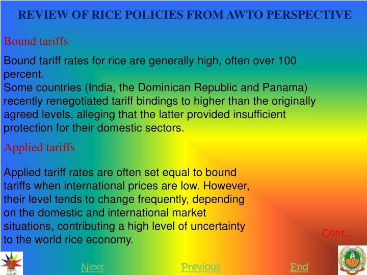 REVIEW OF RICE POLICIES FROM AWTO PERSPECTIVE
