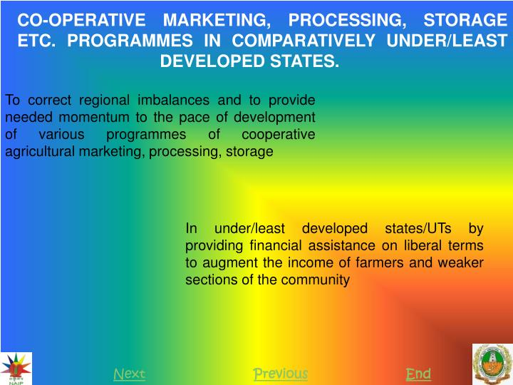 CO-OPERATIVE MARKETING, PROCESSING, STORAGE ETC. PROGRAMMES IN COMPARATIVELY UNDER/LEAST DEVELOPED STATES.