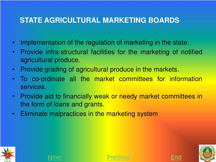 STATE AGRICULTURAL MARKETING BOARDS