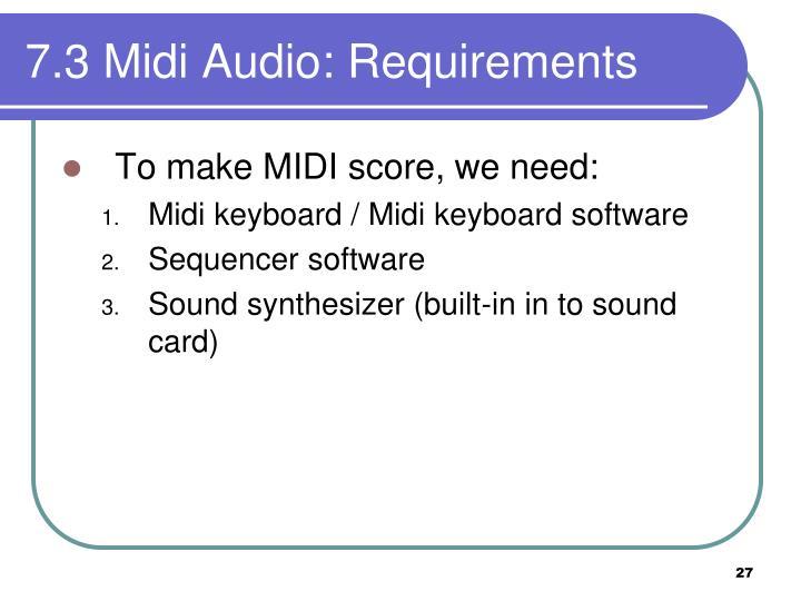 7.3 Midi Audio: Requirements
