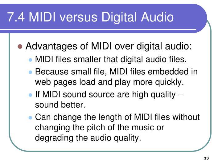 7.4 MIDI versus Digital Audio