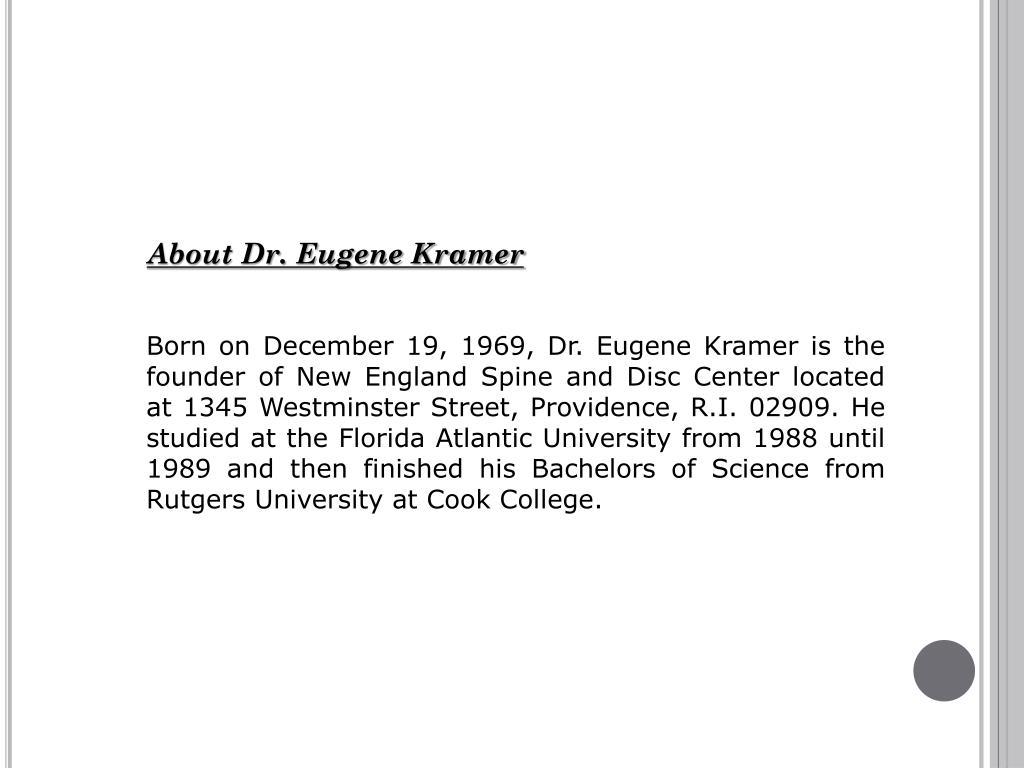 About Dr. Eugene Kramer