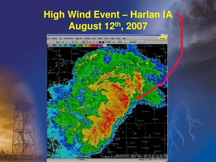 High Wind Event – Harlan IA