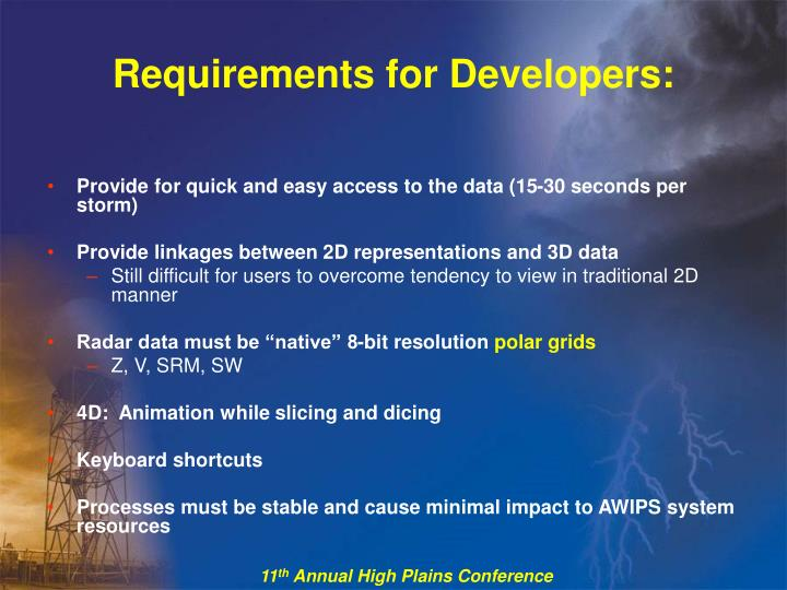 Requirements for Developers: