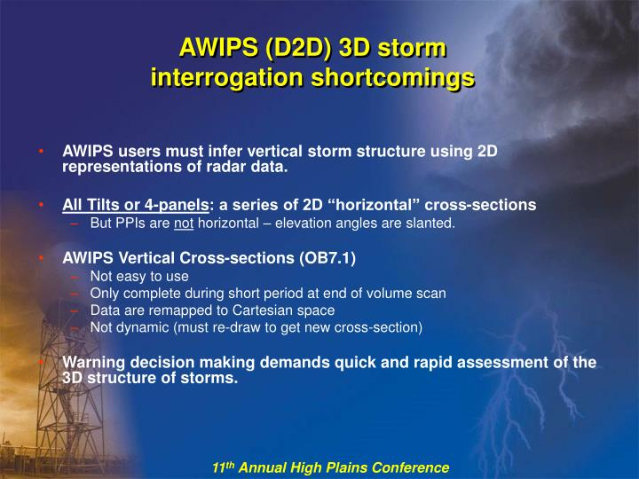 AWIPS (D2D) 3D storm interrogation shortcomings