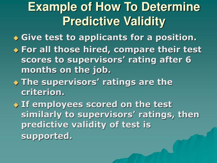 Example of How To Determine Predictive Validity