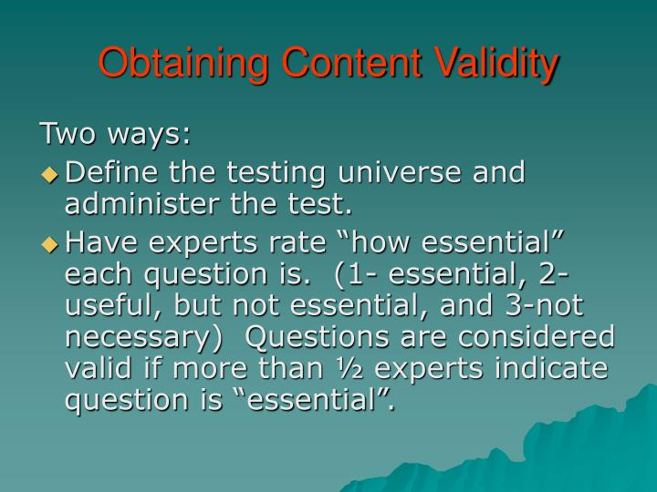 Obtaining Content Validity