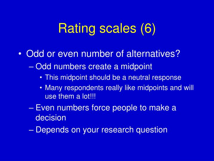 Rating scales (6)