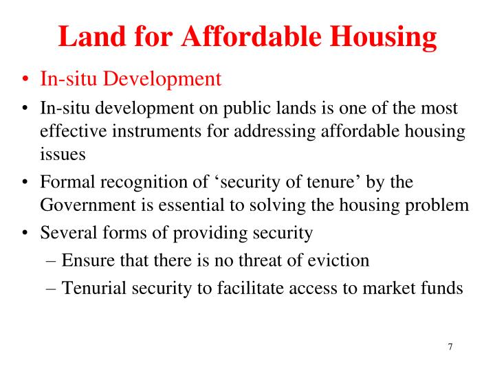 Land for Affordable Housing