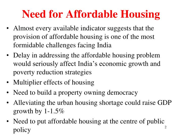 Need for Affordable Housing