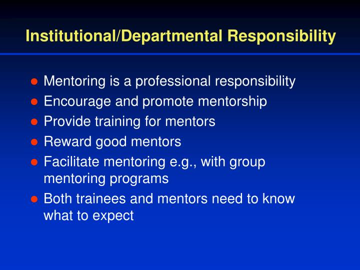 Institutional/Departmental Responsibility