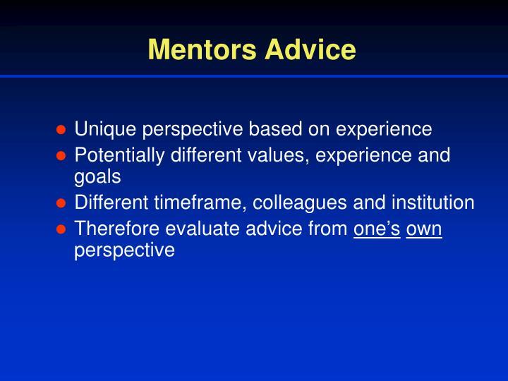 Mentors Advice