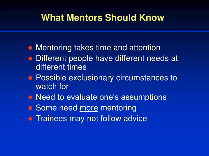 What Mentors Should Know