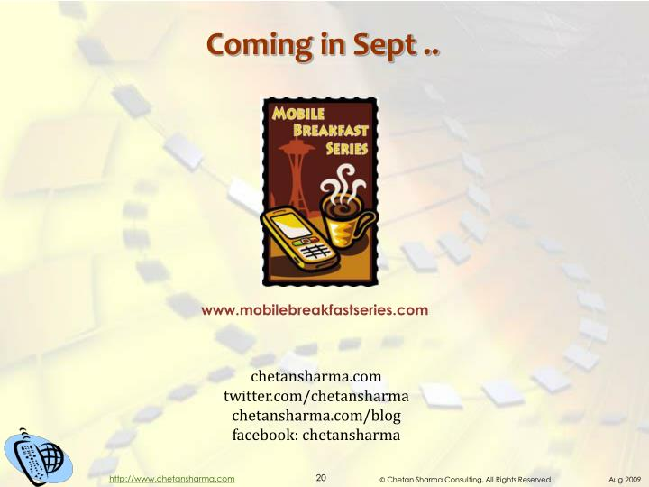 Coming in Sept ..