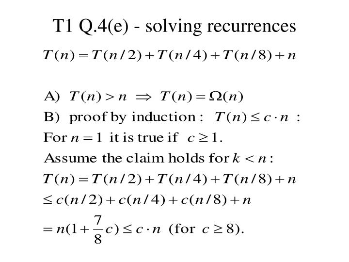 T1 Q.4(e) - solving recurrences