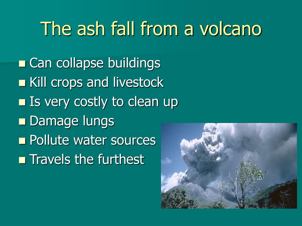 The ash fall from a volcano