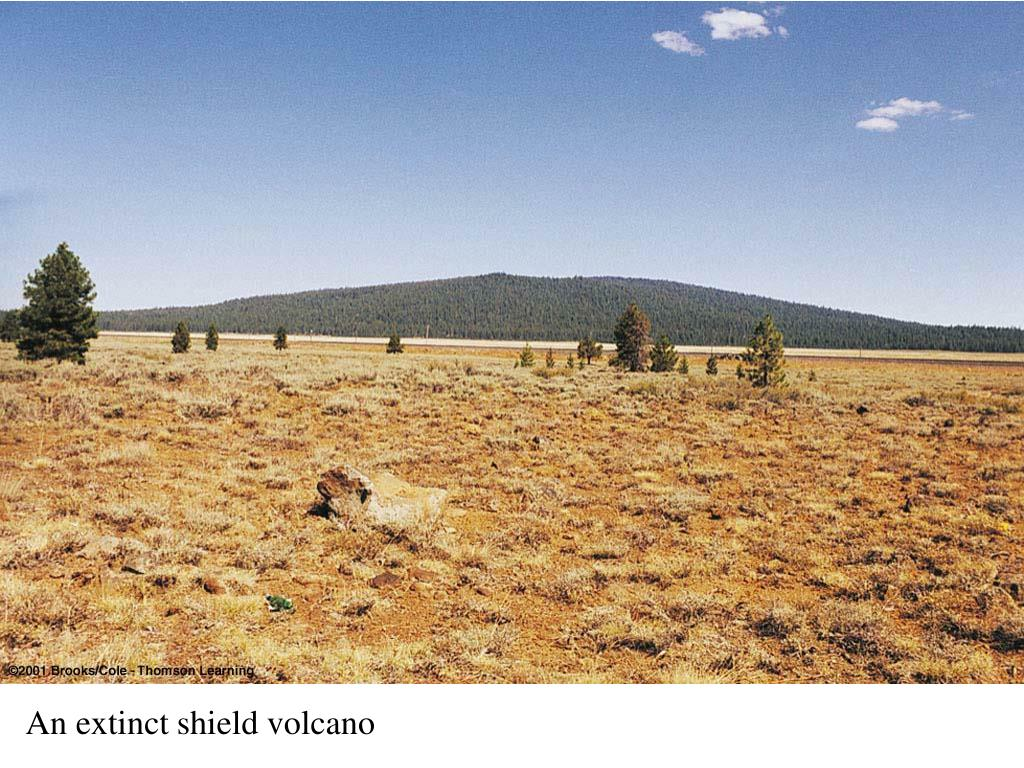 An extinct shield volcano