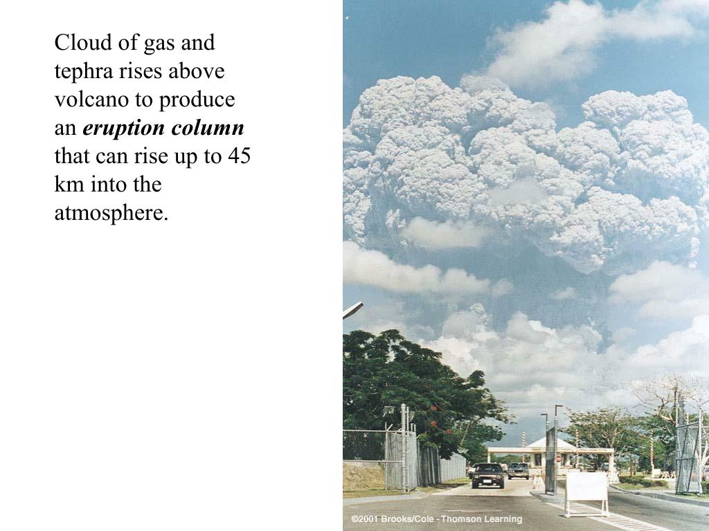 Cloud of gas and tephra rises above volcano to produce an