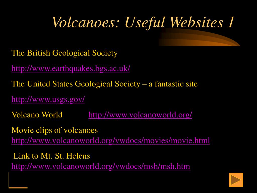 Volcanoes: Useful Websites 1