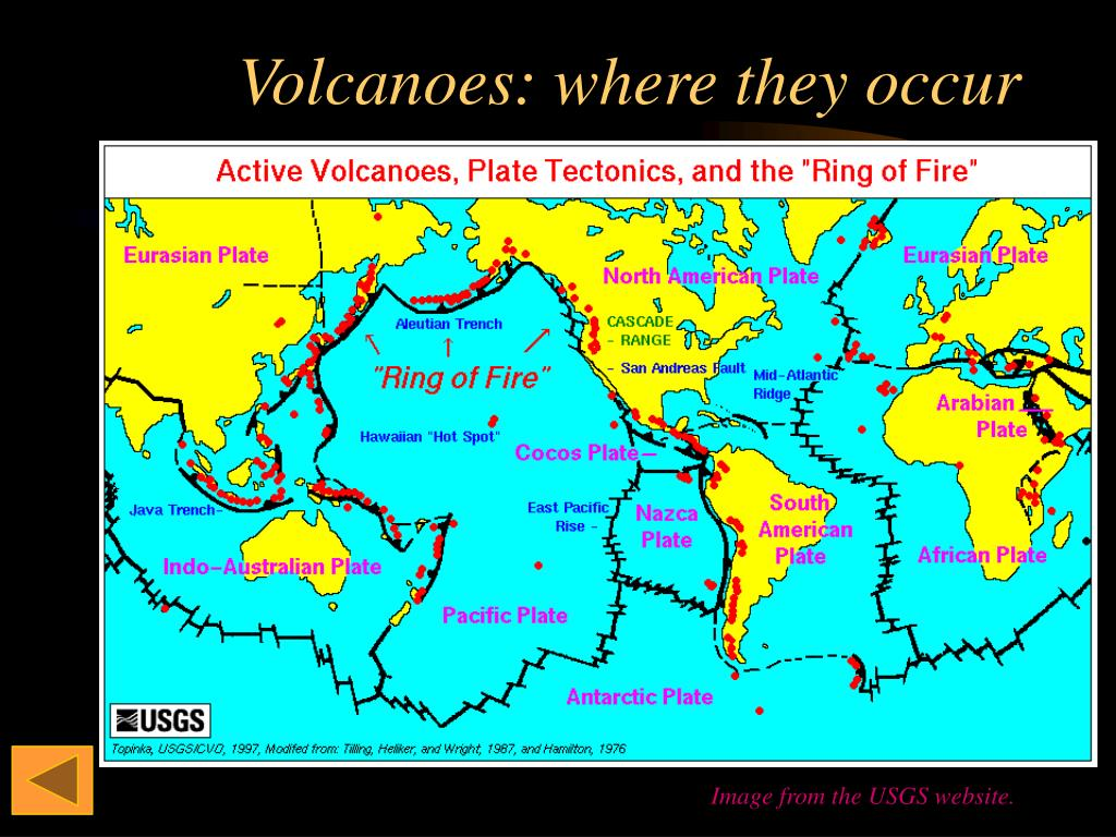 Volcanoes: where they occur