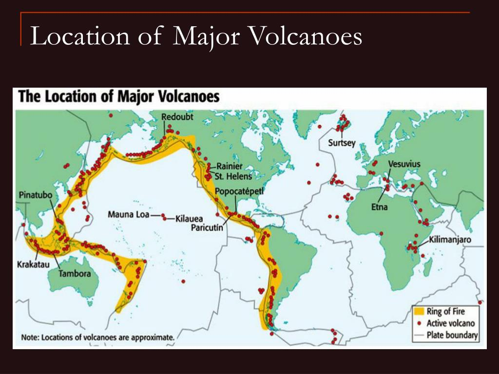 Location of Major Volcanoes