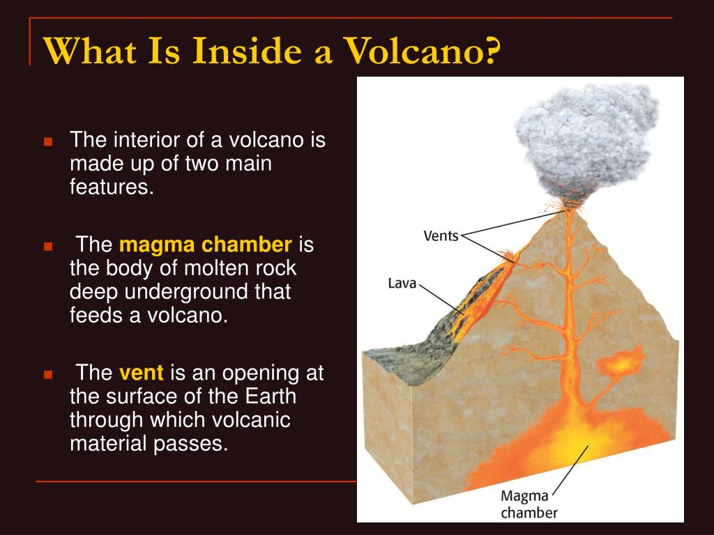 The interior of a volcano is made up of two main features.