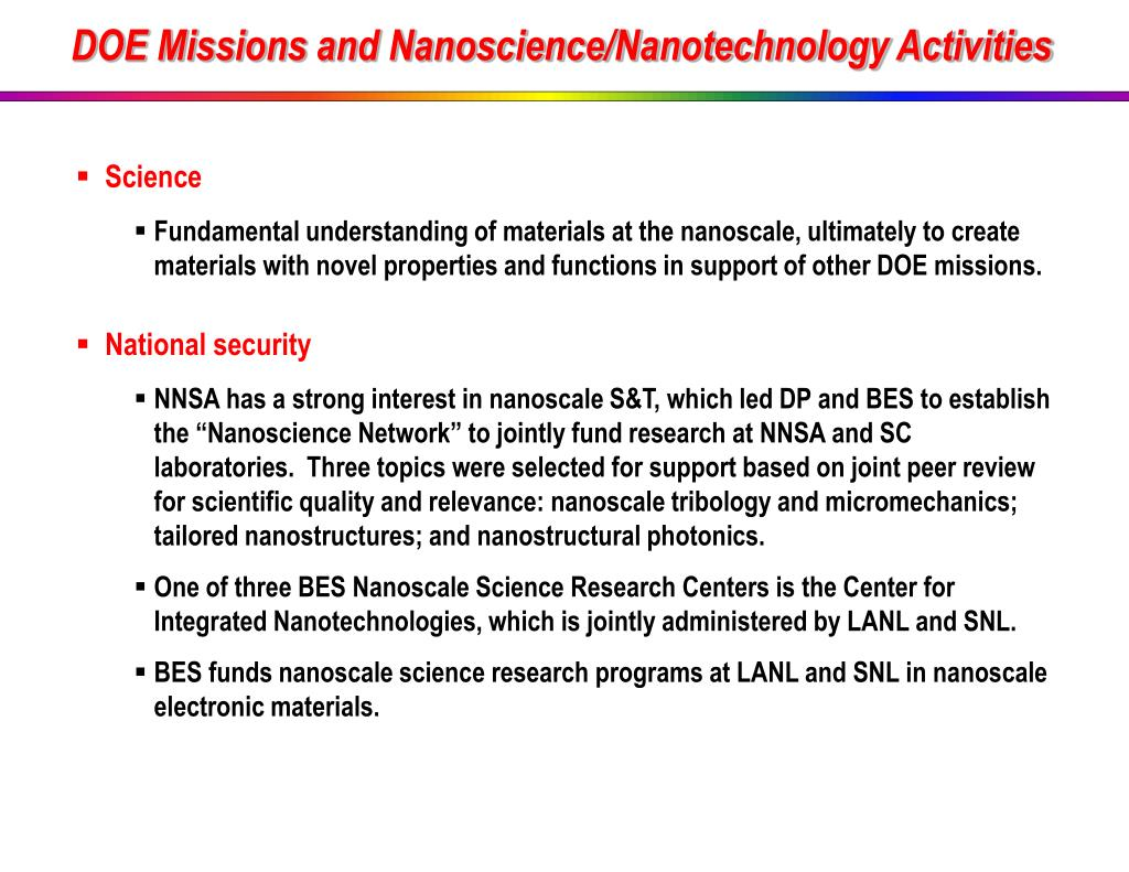 DOE Missions and Nanoscience/Nanotechnology Activities