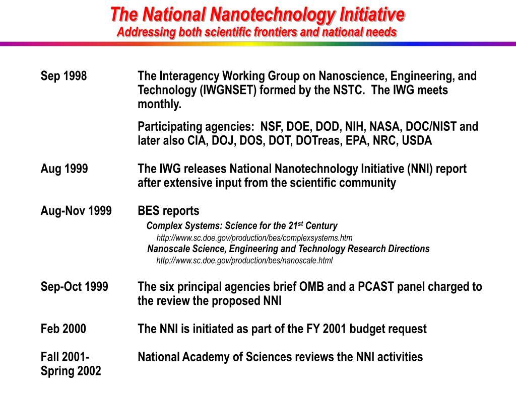 The National Nanotechnology Initiative