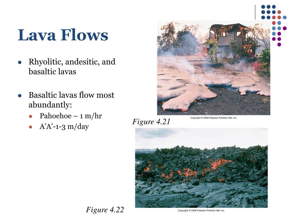 Rhyolitic, andesitic, and basaltic lavas
